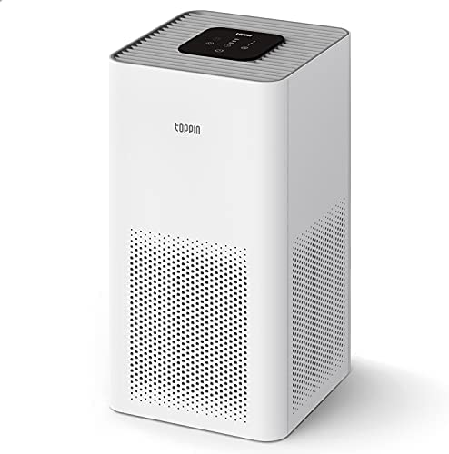 TOPPIN HEPA Air Purifiers for Home Large Room Up to 215ft²- TPAP001 Ultra-Silent Bedroom Air Cleaner with Brushless Motor H13 HEPA Filter for 99.97% Pollen, Allergies, Pets Hair, Dander, Dust