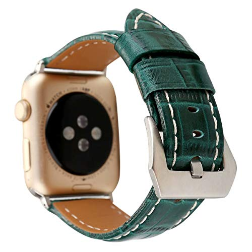 Clatune Crocodile Pattern Leather Band Strap Large Clasp Buckle Wristband Bracelet Compatible with 44mm 42mm Apple Watch Series 4/3/2/1, Green