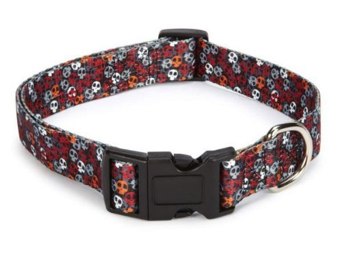 Casual Canine Polyester Bone Heads Dog Collar, 14 to 20-Inch