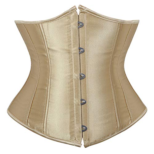 Women's Corset Bustier Top Black Satin Underbust Waist Trainer 5X-Large Beige