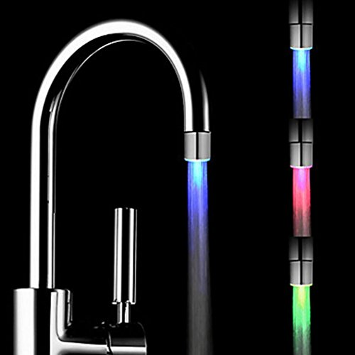 Staron Kitchen Sink LED Light Faucet Romantic 3 Color Change Tap Water Glow Water Stream Shower LED Faucet Taps Bathroom Stream Shower LED Faucet Lights by (3 Colors)