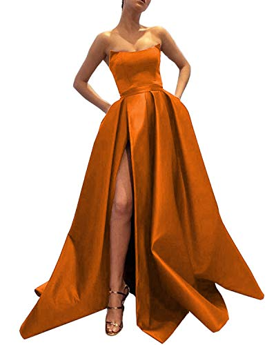 (Ever-Beauty Womens Long Strapless Satin Prom Dress Sleeveless Slit Evening Ball Gown with Pockets Orange Size 4 )