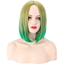 "Yesui 14"" 35cm Short Bob Hairs Synthetic Straight Hair Party Costume Cosplay Wigs with Wig Cap(Ombre Green)"
