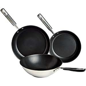 AmazonBasics - Juego de sartenes y wok de acero inoxidable de 3 piezas, sartén de