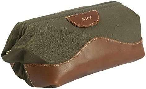 e92024003c Amazon.com  Personalized Forest Green Canvas and Leather Travel Toiletry Bag  - Gold  Everything Else