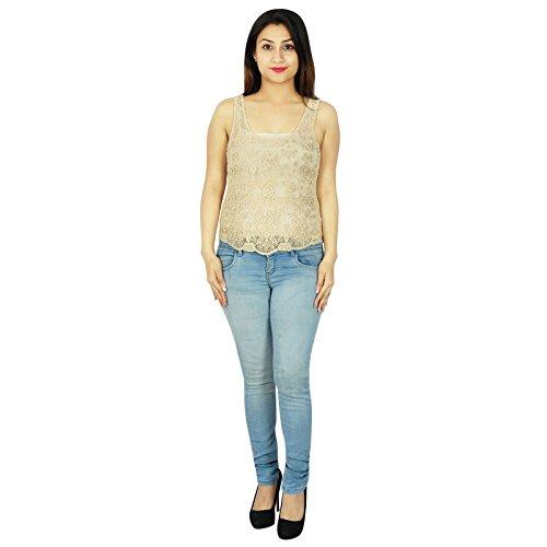 Wear Camisa sin mangas vestido de verano de las mujeres de Boho del partido de la moda de verano con cuentas Túnica Beige