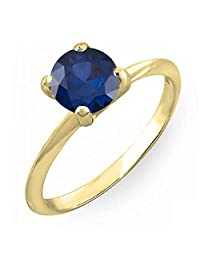 10K Gold 7mm Round Cut Blue Sapphire Ladies Solitaire Bridal Engagement Ring