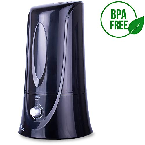 Air Innovations MH-408 Black 1.1 Gal. Cool Mist Humidifier for Medium Rooms - Up to 400 sq. ft