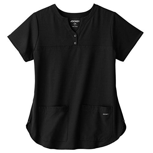 Shirttail Scrub (Classic Fit Collection by Jockey Women's Button Notch Neck Shirttail Solid Scrub Top Medium Black)
