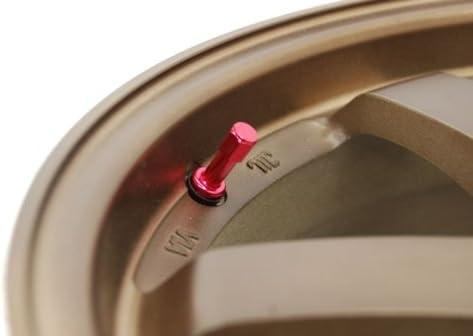 SET OF 4 RED ALUMINUM TIRE VALVE STEMS CAP BBS RACING.