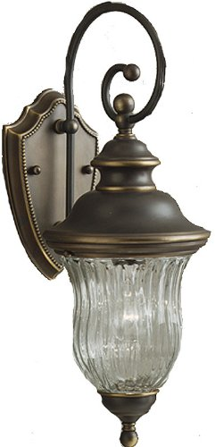 Kichler Lighting 9412OZ Sausalito – One Light Outdoor Wall Mount, Olde Bronze Finish with Clear Ribbed Optic Glass For Sale