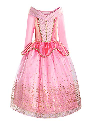 ReliBeauty Girls Princess Dress up Aurora Costume, 5, Pink -