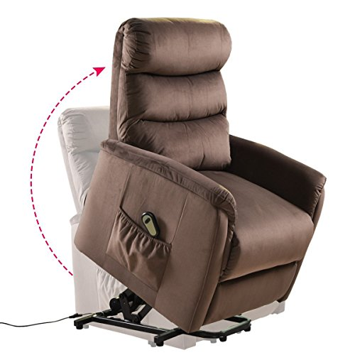 Giantex Power Lift Chair Recliner for Elderly Soft and Warm Fabric, with Remote Control for Gentle Motor Living Room Furniture, Chocolate