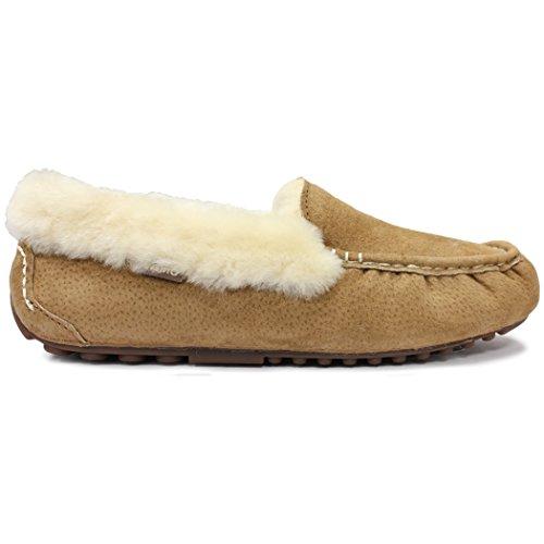 Lamo Women's Ausie Moc Slip-On Loafer, Chestnut, 10 M US