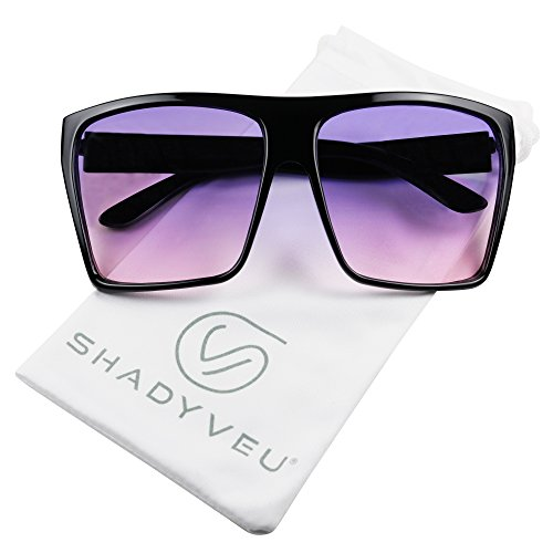 ShadyVEU - Big XL Large Square Trapezoid Shape Oversized Fashion Sunglasses (Black, Purple & Pink ()