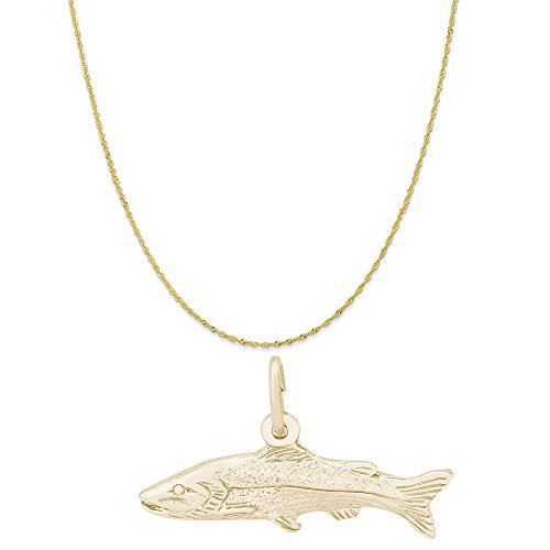 Rembrandt Charms 10K Yellow Gold Snook Fish Charm on a Twist Curb Chain Necklace, (Big Twist Pendant)
