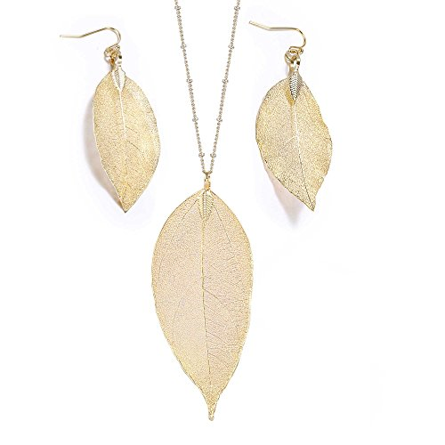 Gold-Tone Natural Leaf Pendant Necklace Earring Set Dangle Fall Winter Women Jewelry Gift Idea (Gold)
