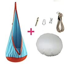 HappyPie Children Nest Hanging Pod Swing Seat Indoor and Outdoor Hammock Exercise Use Toy for Kids Polyester packing bag with Spring Deduction (Sky Blue (Rotating parts))