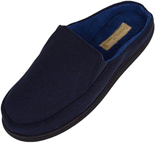 Heren Slip Op Slippers / Muilezels / Indoor Schoenen Met Zachte Micro Suede Bovenwerk Marine