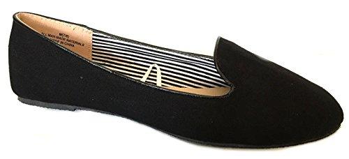 Chaussures Flâneurs En Toile Pour Femme Chaussures Plates (7/8, Noir 102)