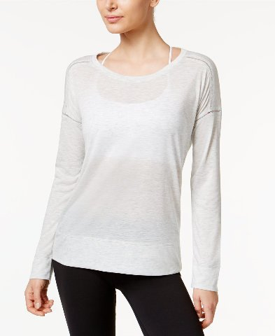 Calvin Klein Performance Womens Scoop Neck Moisture Wicking Shirts & Tops Gray M