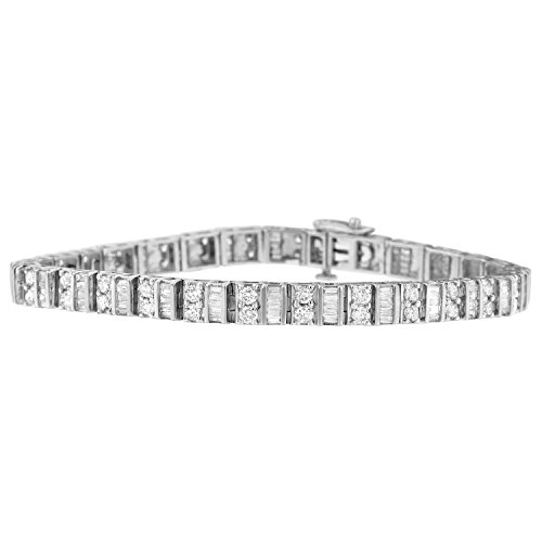 Baguette Diamond Tennis Bracelet - 14K White Gold Baguette and Round Cut Diamond Tennis Bracelet (4.00 cttw, I-J Color, I1-I2 Clarity)