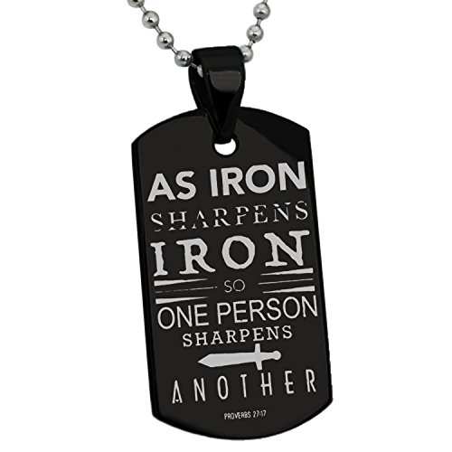 Black Stainless Steel As Iron Sharpens Iron Proverbs 27:17 Engraved Dog Tag Pendant Necklace -