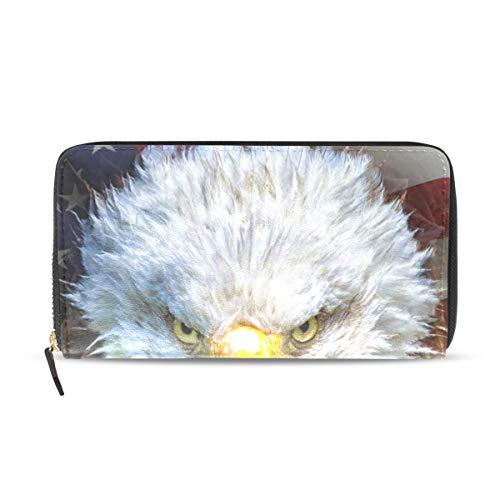 Womens Wallets Bald Eagle American Flag Leather Passport Wallet Change Coin Purse Girls Handbags ()
