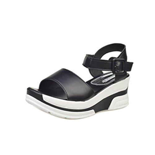 Alonea Fashion Women's Summer Sandals Shoes Peep-toe Low Shoes Roman Sandals Ladies Flip Flops (6.5, Black)