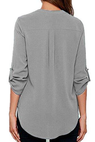 Chase Secret para mujer V cuello blusas sólido suelto Casual con manga Top Gris