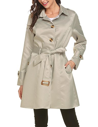 - Mofavor Women's Belted Single Breasted Elegant Long Trench Coat With Pockets