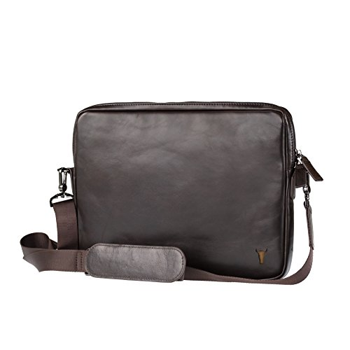 for Pro for laptops Laptop Ideal with MacBook 12 Bag Premium Shoulder Bag strap 9 13 Sleeve Pro iPad Napa Leather Messenger 9 Black 12 TORRO Cover Cover Premium Brown Dark Leather iPad inch Handmade 1qwdgxwaO