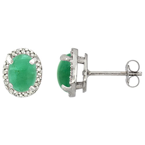 10k White Gold Diamond Natural Cabochon Emerald Halo Stud Earrings Oval 7x5 mm ()