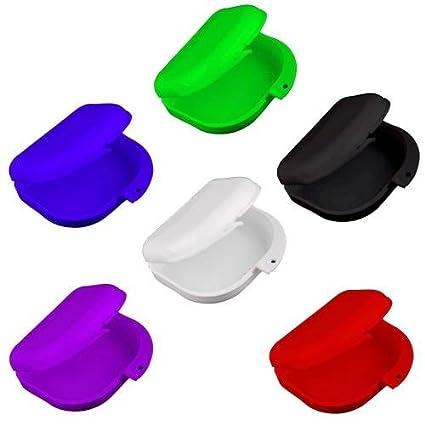 Skyllc® Retenedor ortodóntico dental de 2 piezas, estuche de almacenamiento para dentaduras postizas,