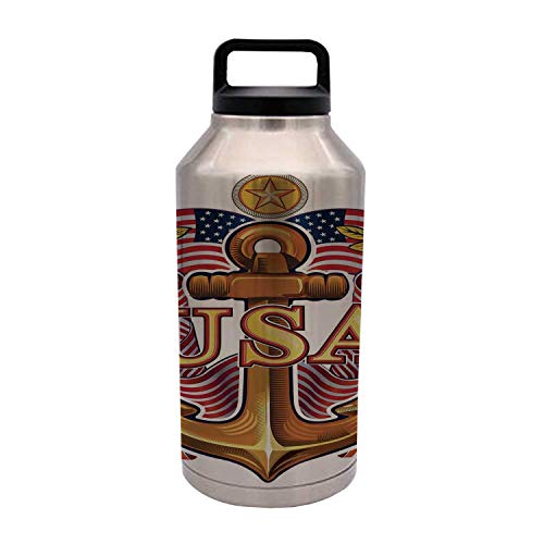 TecBillion Anchor Durable 64OZ Stainless Steel Bottle,Royal USA Anchor with American Flag Leaves and Star Force War Honor Medal Print for Home Travel Office,4