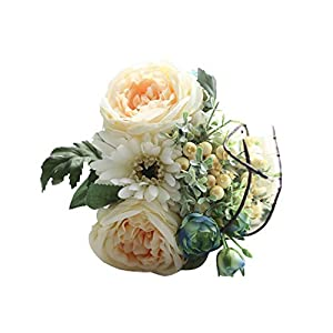 Yamalans 1 Bouquet Artificial Rose African Daisy Fake Flower Leaf Bridal Wedding Banquet Table Vase Garden Office Shop Decoration Champagne One Size 100