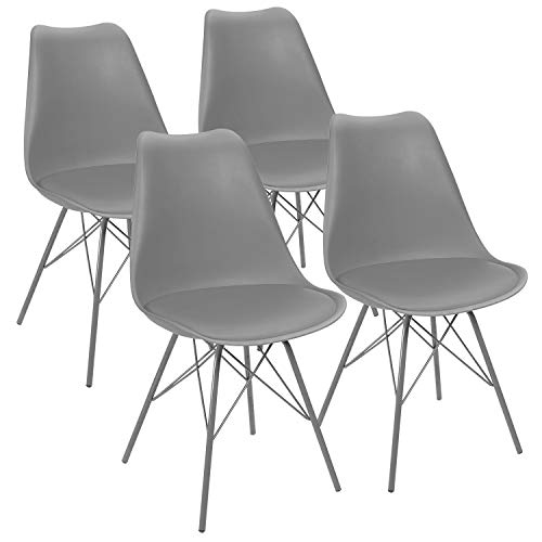 JUMMICO Kitchen Dining Chair with Soft Padded Mid Century Shell Side Chair Armless Tulip Chair Set of 4 (Grey)