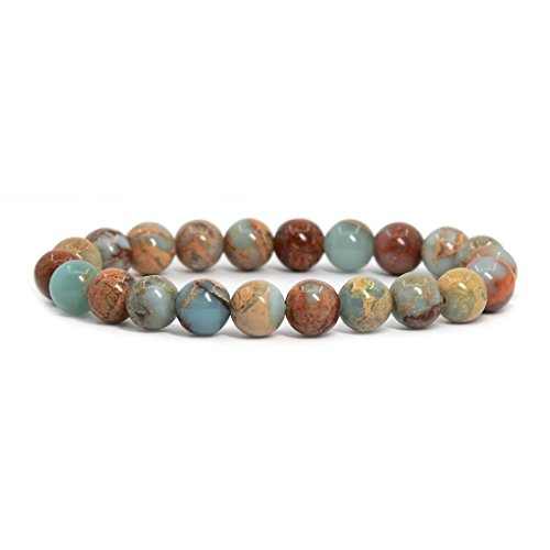 "Justinstones Natural Serpentine Gemstone 8mm Round Beads Stretch Bracelet 7"" Unisex from Justinstones"