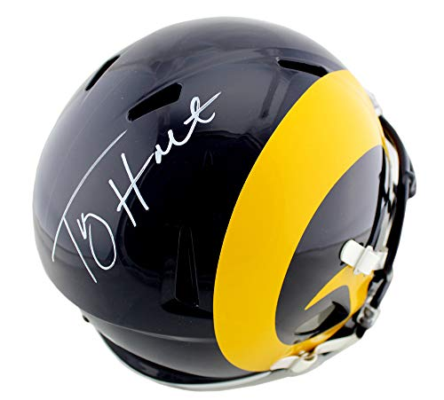 (Torry Holt Autographed/Signed St. Louis Rams Riddell Full Size Color Rush NFL Speed Helmet)