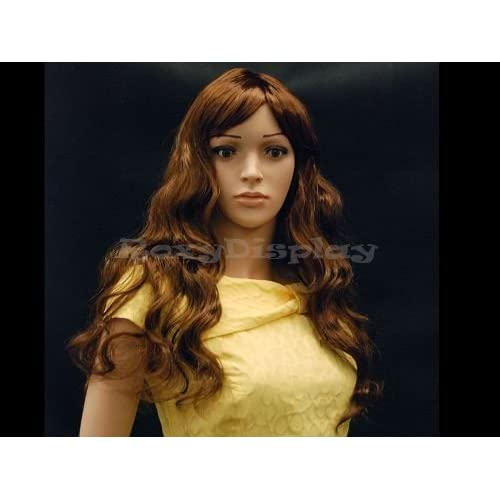 (WG-T23M-P33) Female Glamorous long curly Flaxen Wig Mannequin Head Hair