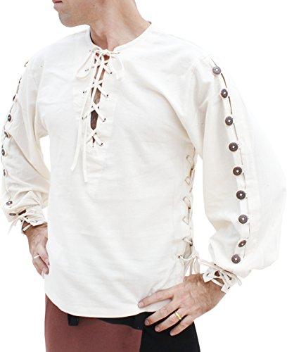 Svenine Cotton Medieval Button Sleeve Shirt Renaissance Costume Quality