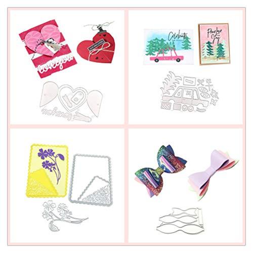 Meslio 4pcs Girls Cutting Dies Metal Scrapbooking Stencils Die for DIY Embossing Photo Album Decorative DIY Paper Cards Making Gifts(Love Card, Car woods,Bow,Flower Frame)