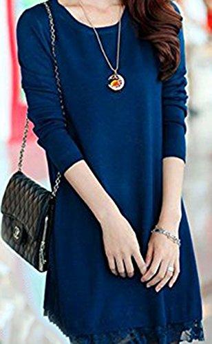 TOOGOO (R)Femmes pull en tricot dentelle lache decontracte robe Long Cardigan pull L-bleu