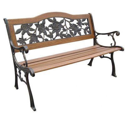 DC America SLP2660BRSP, Rose Resin Back Park Bench, Cast Iron legs, Rust-free Resin Back, and Hardwood Slats, Rust Resistant Bronze Finish