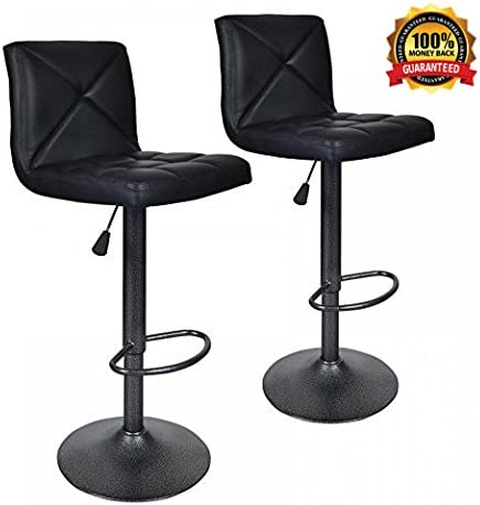Dkeli Bar Stools, Modern Black PU Leather Barstools with Back Adjustable Counter Height Swivel Bar Stool, Set of 2 Black