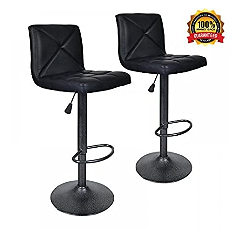 size 40 9a19e 44b2c Bar Stools Modern Black PU Leather Barstools with Back Adjustable Counter  Height Swivel Bar Stool,Set of 2