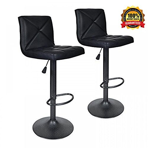 - Bar Stools Modern Black PU Leather Barstools with Back Adjustable Counter Height Swivel Bar Stool,Set of 2
