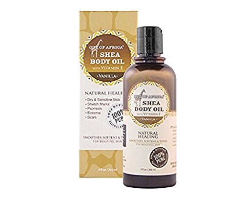 Out of Africa Shea Butter Body Oil - Vanilla Scented (9 oz Bottle); All-Natural Moisturizing Oil for Skin Care and Massage (Raw Body Oil)