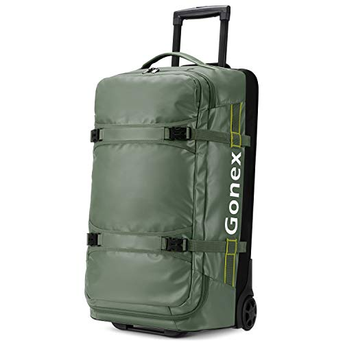 Gonex Rolling Duffle Bag with Wheels, 70L Water Repellent Wheeled Travel Duffel Carry On Luggage with rollers, Olive Green