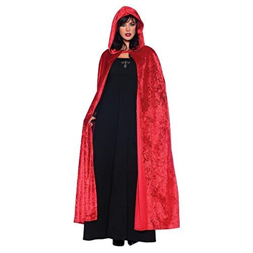 Hooded Cloak Halloween Cosplay Costume Full Long Thick Velvet Cape Red HC002RM for $<!--$19.99-->